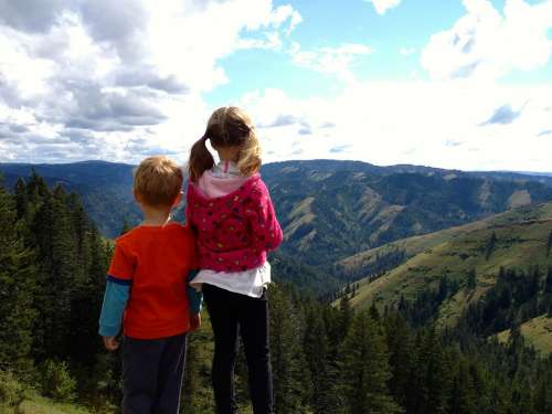 Children Hiking Nature Landscape Mountain Scape