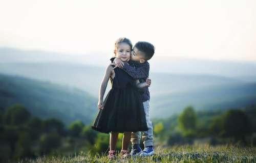Children Hug Siblings Brother Sister Friends