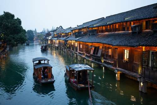 China Wuzhen Winter Ship Night View