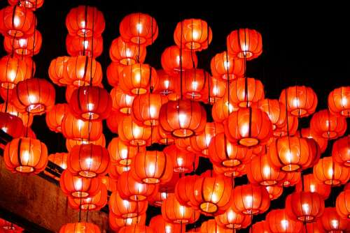 Chinese Chinese New Year Lantern Red Asian Lamps
