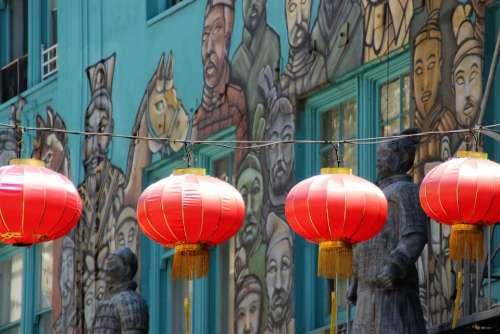 Chinese Lanterns Chinatown Window Los Angeles