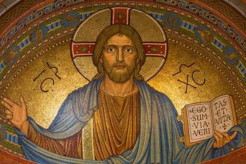 Christ Jesus Religion Mosaic Easter Gold