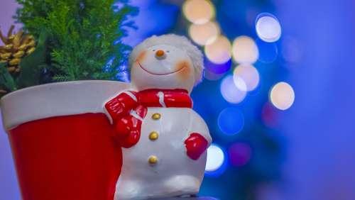 Christmas Snowman Ornaments Christmas Tree Bokeh