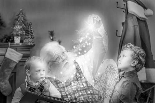 Christmas Storybook Santa Black And White Job