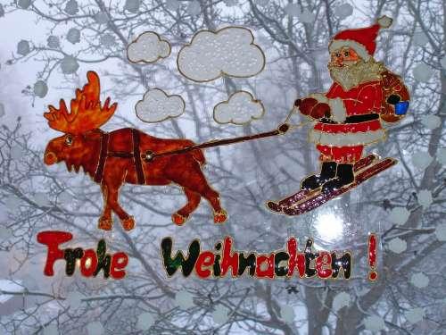 Christmas Window Sticker Reindeer Moose Slide