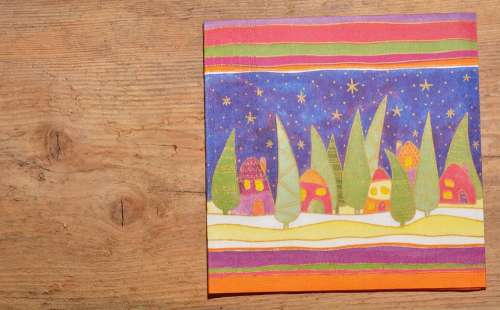 Christmas Napkin Napkin Wood Background