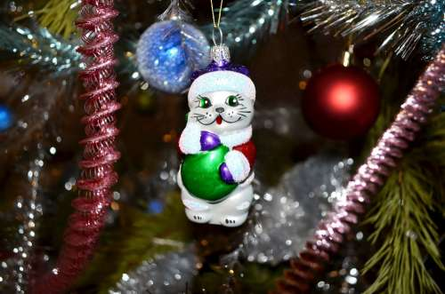 Christmas Toy Glass Tinsel Holiday Ornament
