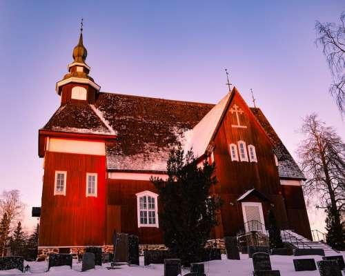 Church Woodchurch Cemetery Snow Finland
