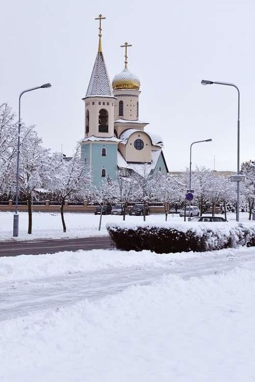 Church Winter Colorful Church Architecture Snow