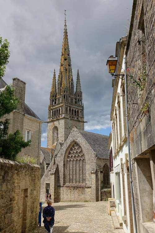 Church Steeple Building Sky France Brittany