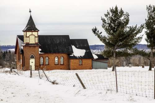 Church Snow Winter Building White Cold