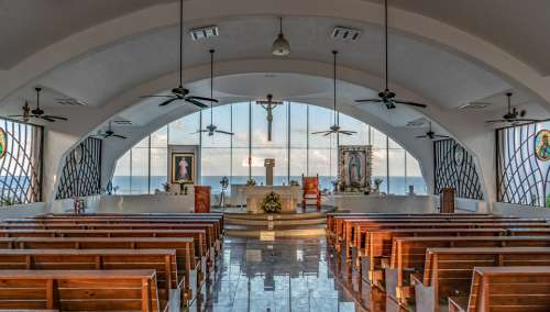 Church Guadalupe Chapel Cancun Mexico Ocean View