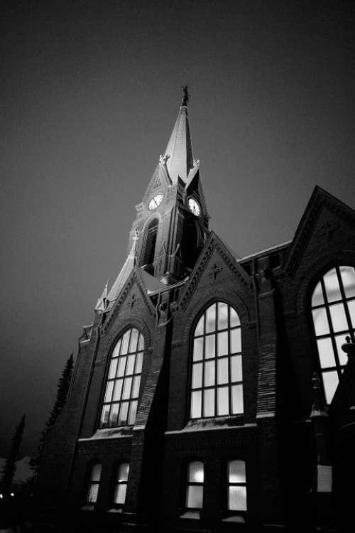 Church Steeple Church Window B W Photo Finnish
