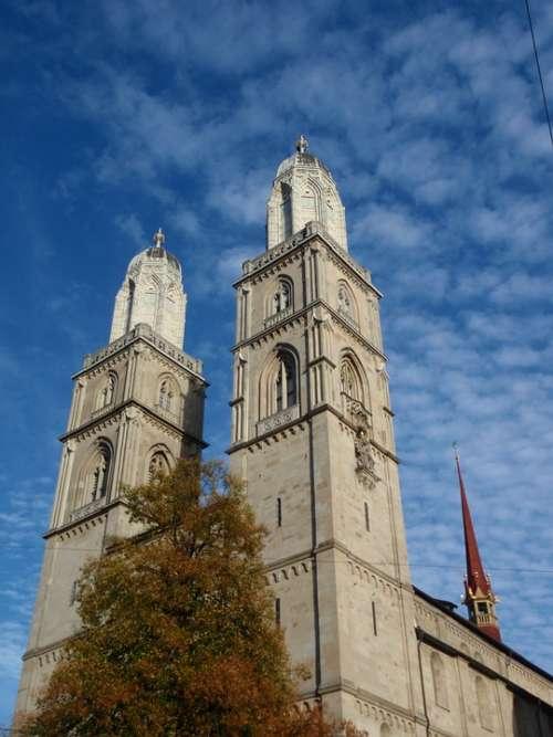 Church Zurich City Switzerland Travel Swiss