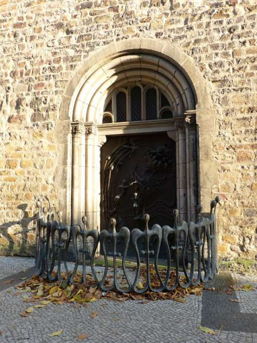 Church St Sebastian Door Portal Input Romanesque