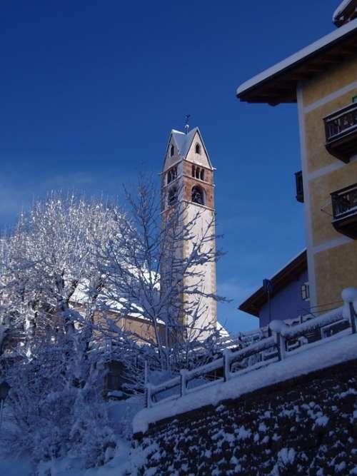 Church Val Di Fiemme Trentino Winter Snow Historic