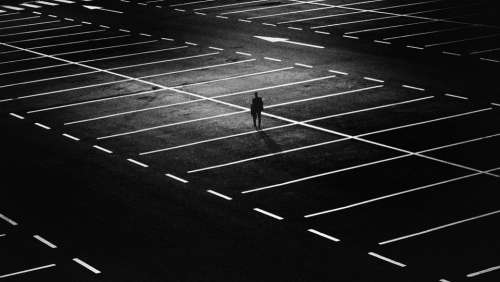 City Parking Space Person Man Gloomy Alone Night