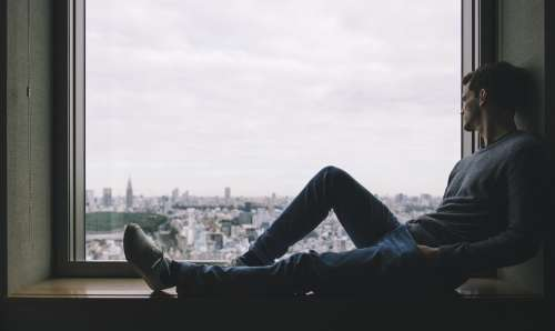 City Man Person Solo Window Alone Thinking Relax