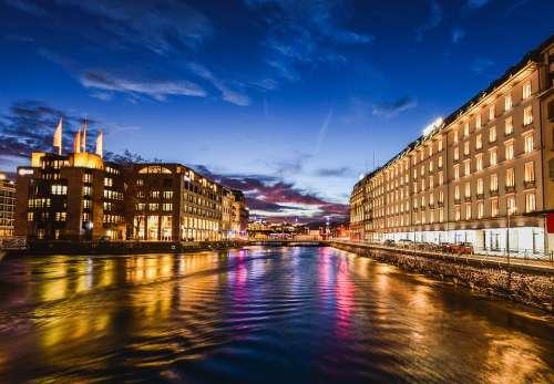 City River Buildings Twilight Reflection Lights