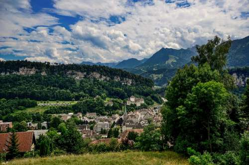 City Clouds Castle View Landscape Feldkirch Hill