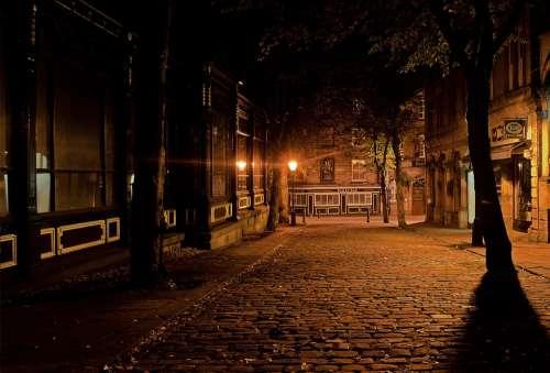 City Night Dark Architecture Lamps Lighting Eerie