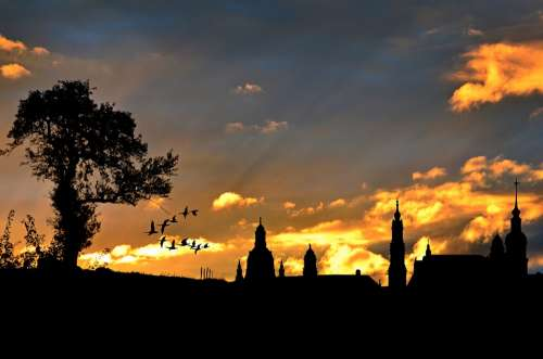 City View Evening Sky Silhouette Architecture