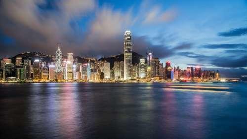 Hong Kong China Night Cityscape Coastline Coast