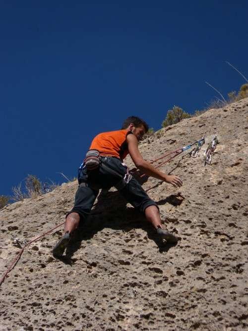 Climber Escalation Top Rock Rope Mountain Nature