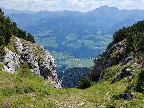 Climbing Mountains Panorama Alpine Hike Steep