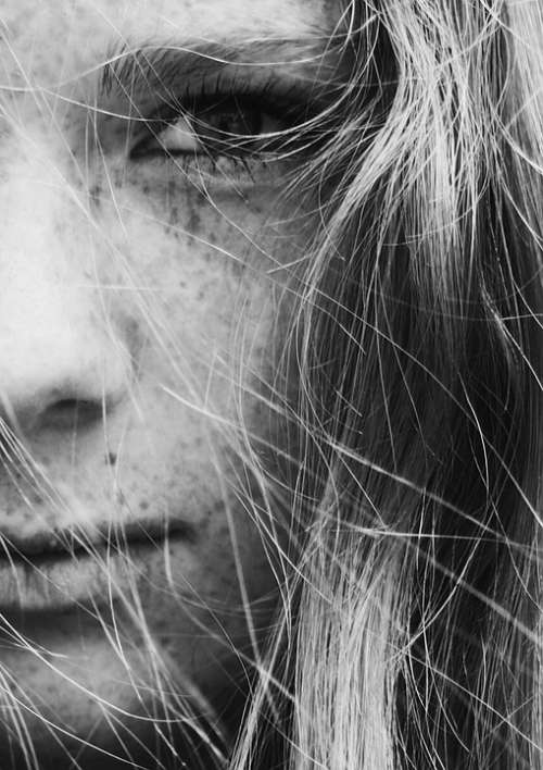 Close-Up Face Freckles Girl Hair Woman View Look