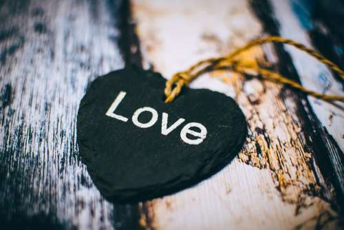 Close-Up Heart Rustic Text Wooden Love