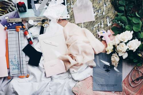 Cloth Fabrics Fashion Design Work Mockup Chaos