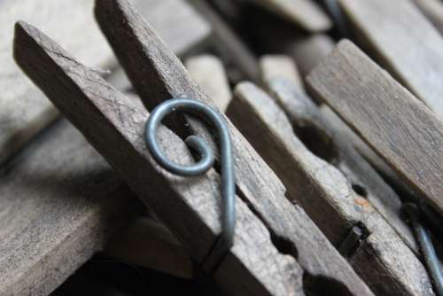 Clothes Peg Old Brocante Close Up Wood Iron
