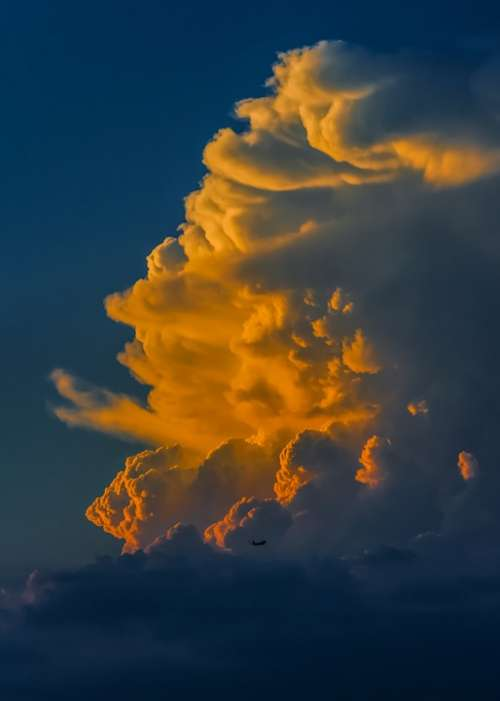 Cloud Sunset Colors Glowing Evening Cumulus Sky