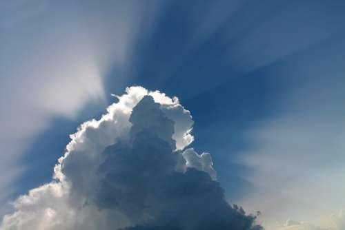 Cloud Sky Blue Sky Space Rays Sunrays