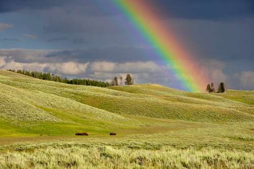 Clouds Rainbow Meadow Colorful Colourful