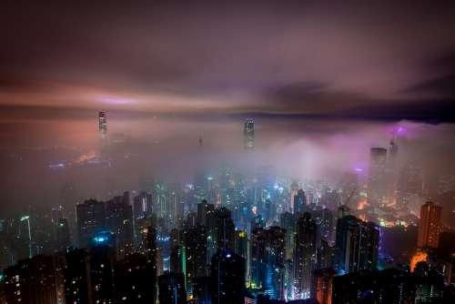Clouds Hong Kong Night Mist Haze Skyscrapers City