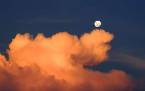 Clouds Moon Sky Day Full Moon Cumulus Weather