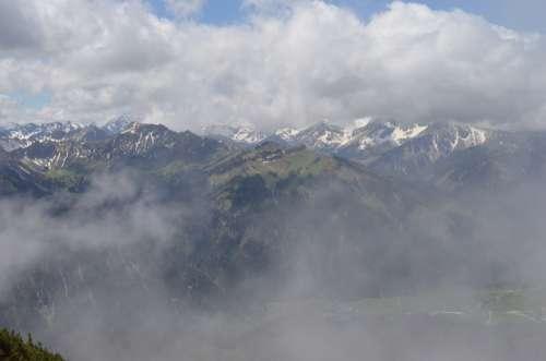 Clouds Mountains Snow Alpine Hiking