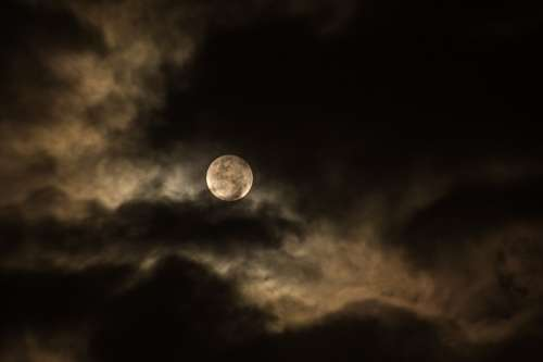 Cloudy Dark Full Moon Luna Moon Night Sky