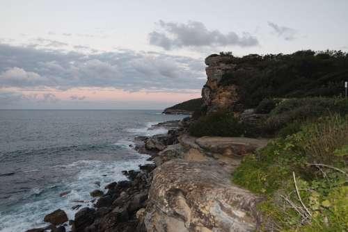 Coastline Sydney Australia Ocean Sea Waves