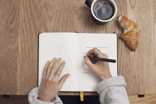 Coffee Write Table Notebook Writing Cup Hands