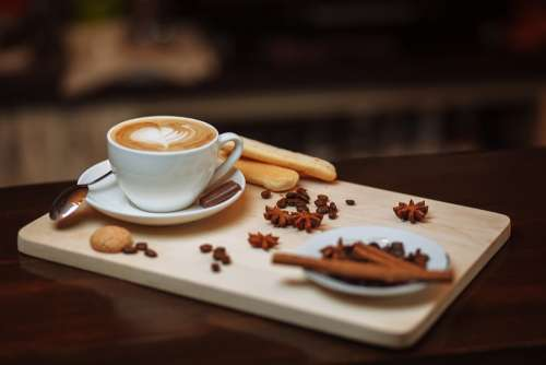 Coffee Drink Hot Cup Cappuccino Saucer Caffeine