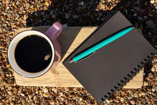 Coffee Pen Notebook Book Black Pink Blue