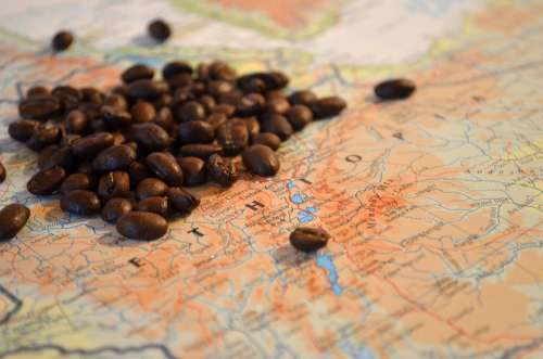 Coffee Beans Ethiopia Africa Map Atlas
