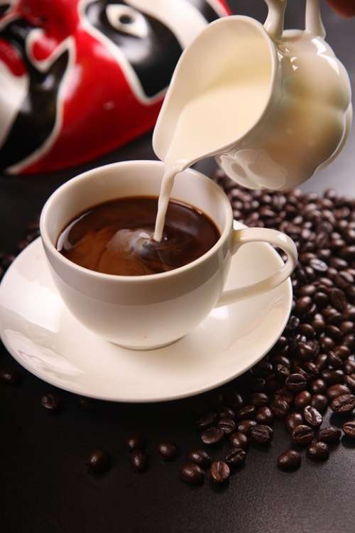 Coffee Milk Coffee Beans Cup Of Coffee Pourring