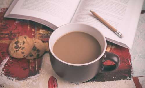 Coffee Book Pencil Chocolate Chip Cookies Reading