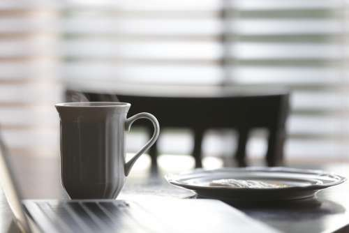 Coffee Cup Plate Table Breakfast Chair Morning