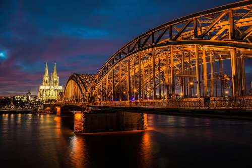 Cologne Rhine Night Bridge Dom Cathedral Church