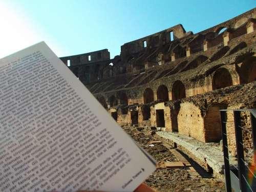 Colosseum Open Book Book Rome Culture